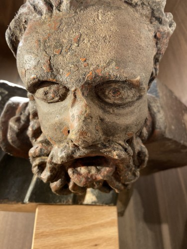 Architectural fragment in stone. A bearded man. 15th Century - France -