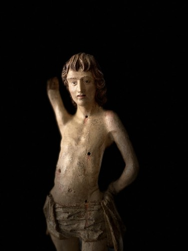 Middle age - Saint Sebastian - wood - Hispano Flamenco - end of the XVI century