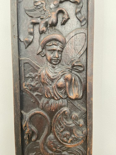 A richly decorated wooden lock plate - Renaissance - XVII - Flanders -