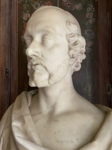 Bust of statesman in white marble - dated 1852 - signed Christopher Moore. - Sculpture Style Napoléon III