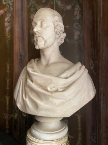 Sculpture  - Bust of statesman in white marble - dated 1852 - signed Christopher Moore.