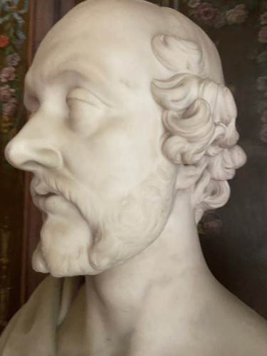 Bust of statesman in white marble - dated 1852 - signed Christopher Moore. -