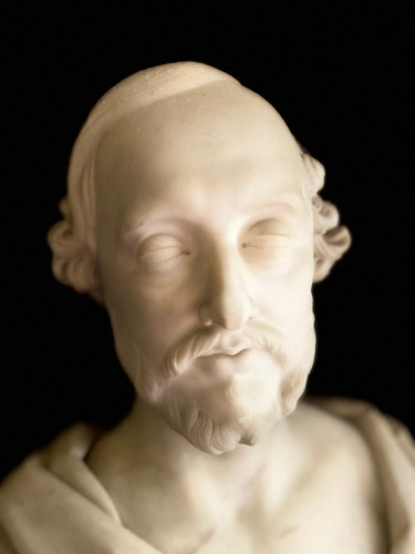 19th century - Bust of statesman in white marble - dated 1852 - signed Christopher Moore.