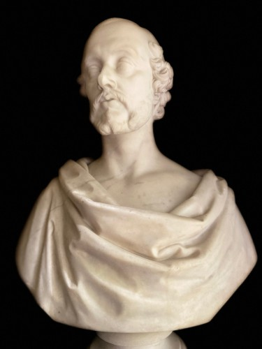 Bust of statesman in white marble - dated 1852 - signed Christopher Moore. - Napoléon III