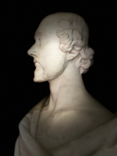 Napoléon III - Bust of statesman in white marble - dated 1852 - signed Christopher Moore.