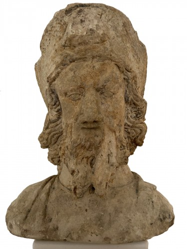 A sandstone bust of Saint Jacques, dated 1654, France