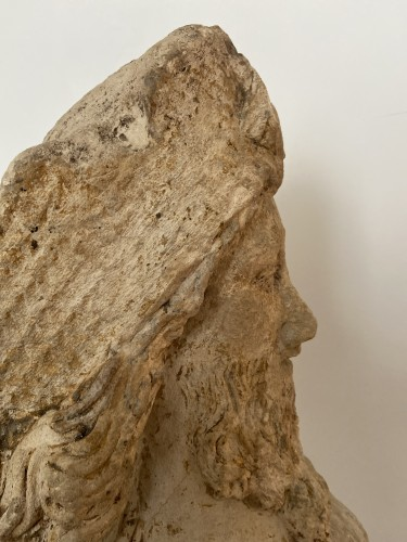 A sandstone bust of Saint Jacques, dated 1654, France -