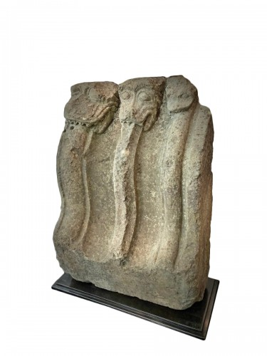 A 13th century stone with 3 mythical animals - France - Region Troyes (?)