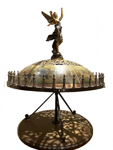 19th century horse game with board and merry-go-round (France - Deauville)