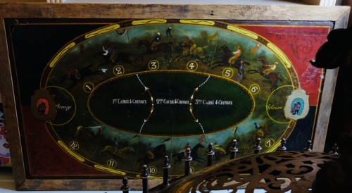 19th century horse game with board and merry-go-round (France - Deauville?) - Curiosities Style