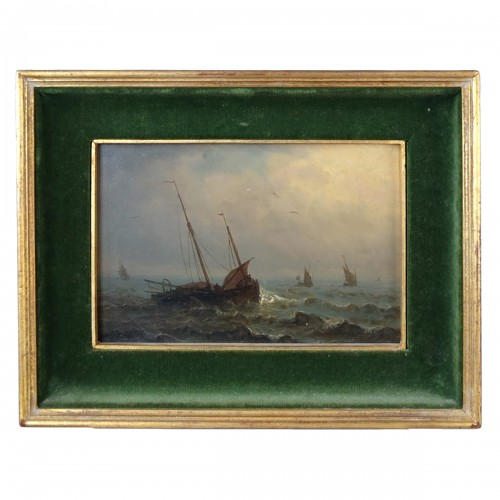 boats in a storm - Charles Ludin (1867-1949)
