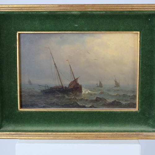 Paintings & Drawings  - boats in a storm - Charles Ludin (1867-1949)