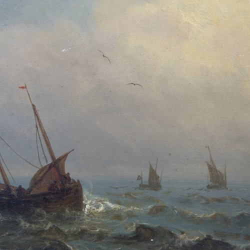 boats in a storm - Charles Ludin (1867-1949) -