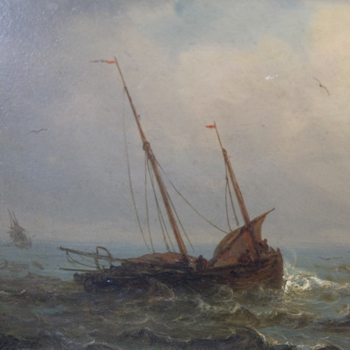 20th century - boats in a storm - Charles Ludin (1867-1949)