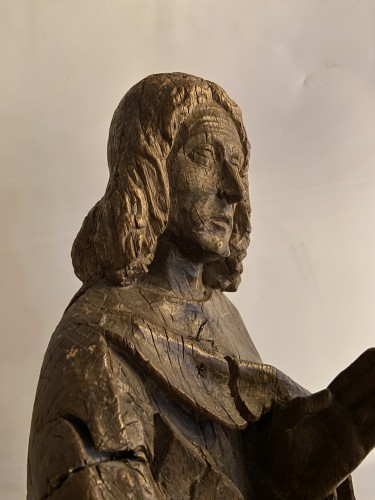 A sculpture (late Gothic) in oak of the apostle John, XVI Flanders - Sculpture Style Middle age