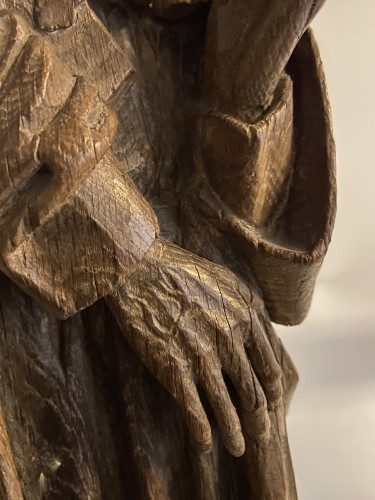 A sculpture (late Gothic) in oak of the apostle John, XVI Flanders -