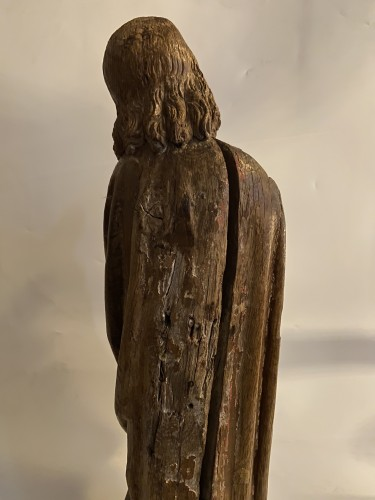 <= 16th century - A sculpture (late Gothic) in oak of the apostle John, XVI Flanders