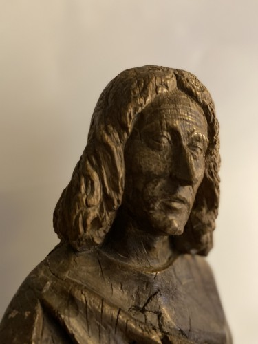 Middle age - A sculpture (late Gothic) in oak of the apostle John, XVI Flanders