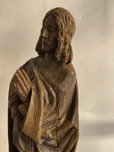 Antiquités - A sculpture (late Gothic) in oak of the apostle John, XVI Flanders