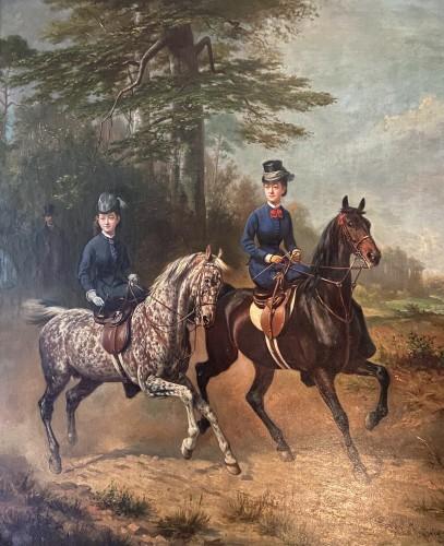 Women riders in amazon riding - Conrad Freyberg (1842-1915)