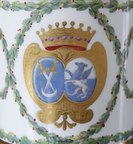 Porcelain & Faience  - Sèvres hard-paste cup and its saucer, with armorial decoration, 1776