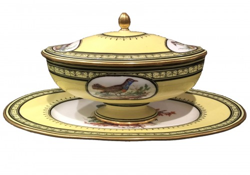 Sèvres soft-paste porcelain sugar-bowl with yellow ground, dated 1791