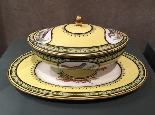 Sèvres soft-paste porcelain sugar-bowl with yellow ground, dated 1791 - Porcelain & Faience Style Louis XVI