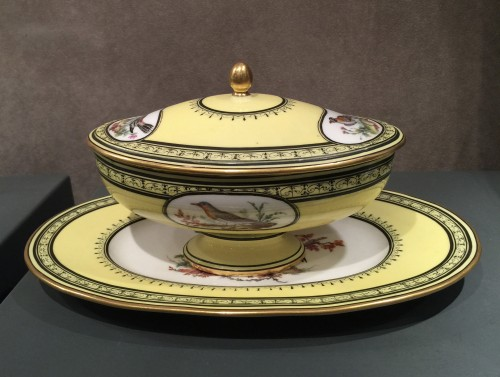 Porcelain & Faience  - Sèvres soft-paste porcelain sugar-bowl with yellow ground, dated 1791