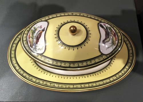 Sèvres soft-paste porcelain sugar-bowl with yellow ground, dated 1791 - Louis XVI