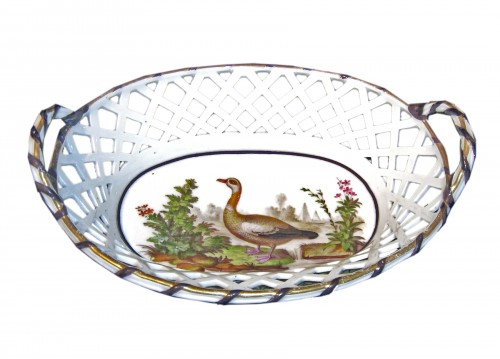 Sèvres hard-paste oval basket with yellow ground, circa 1793-1795