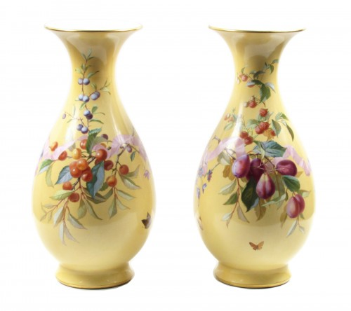 Pair of Sèvres porcelain 'Vases Bertin', dated 1862