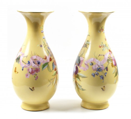 Pair of Sèvres porcelain 'Vases Bertin', dated 1862 - Porcelain & Faience Style Napoléon III