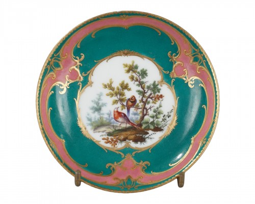 Sèvres soft-paste porcelain saucer, dated 1760