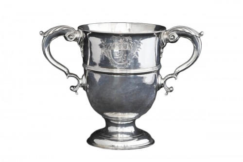 A traditional antique Irish sterling silver loving cup or two handled goble