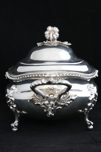Antique Silver  - An Antique Early Victorian Sterling Silver soup tureen in a Regency style