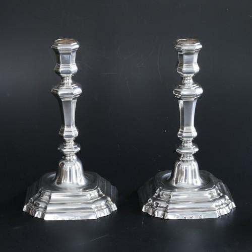 Pair of silver candlesticks, Belgium - Brugge 18th century -