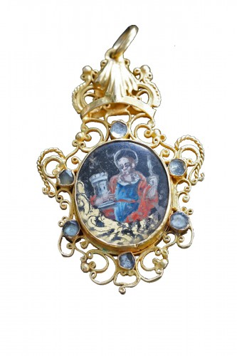 A rare pendant double-sided, verre eglomisé Sint Barbara and Sint Catherine