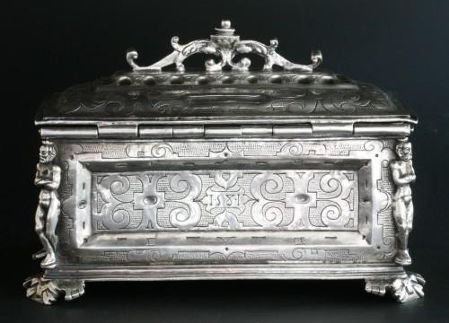 Antique Silver  - A Spanish silver holy oil case, Hernando de Onãte, Zaragoza, circa 1581