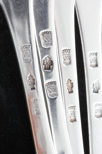 18th century silver cutlery, Jurisdiction of Besançon at Lons-le-Saunier  - Antique Silver Style Louis XV