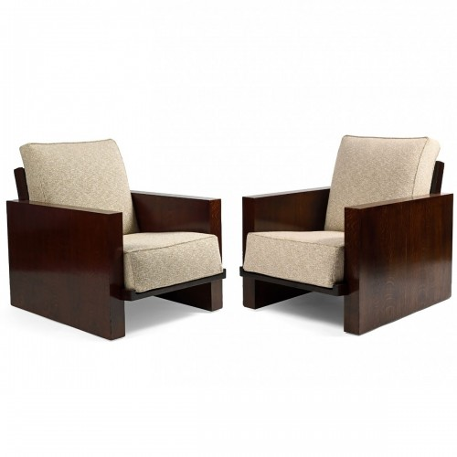 Jacques ADNET (1900-1984) - Pair of modernist armchairs