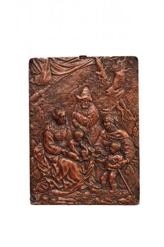Copper alloy relief figuring the Holy Family