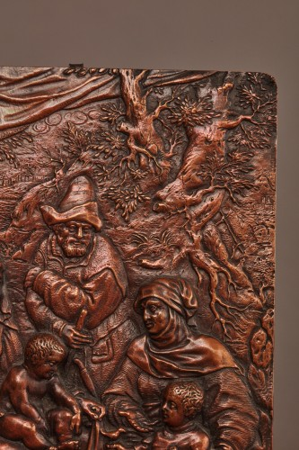 Copper alloy relief figuring the Holy Family - Sculpture Style
