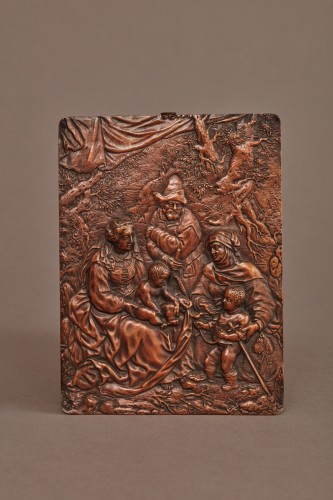 Sculpture  - Copper alloy relief figuring the Holy Family