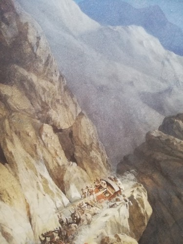 Large watercolour figuring the crash of a convoy in the mountain. - Paintings & Drawings Style