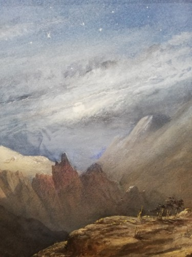 Paintings & Drawings  - Large watercolour figuring the crash of a convoy in the mountain.