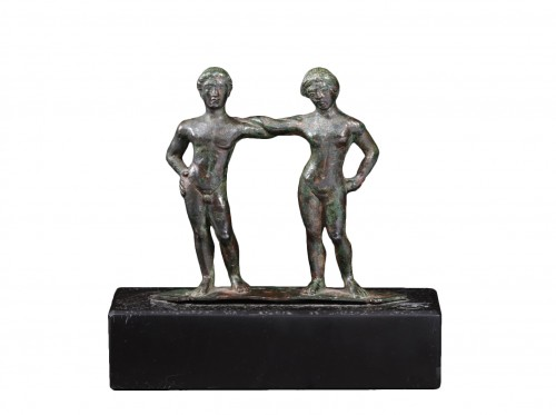 An etruscan bronze cista handle