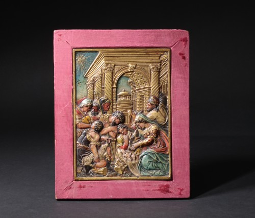Gilt and painted bronze relief figuring the nativity - Religious Antiques Style