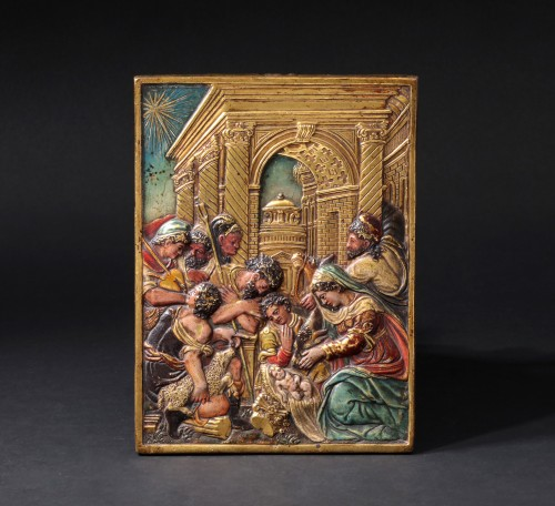 Religious Antiques  - Gilt and painted bronze relief figuring the nativity