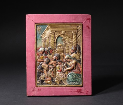 Gilt and painted bronze relief figuring the nativity -