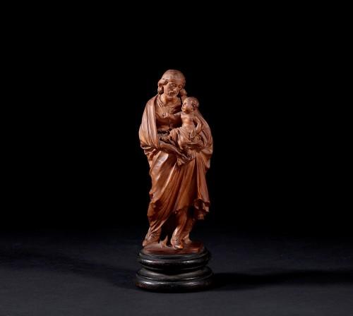 Statuette Figuring St Joseph Carrying Jesus - Sculpture Style